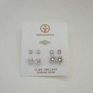 Giani Bernini CZ 925 SS 4 Pair Earrings
